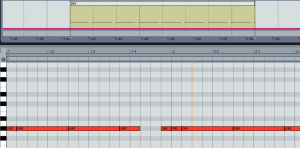 A 303 type synth sound in Ableton Live's piano roll, the synth used is Sylenth1