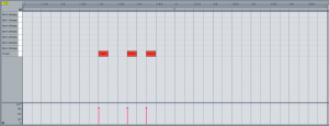 Midi notes in the Ableton Live piano roll used for triggering gated vocals