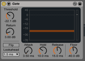 The audio gate effect that is included with Ableton Live
